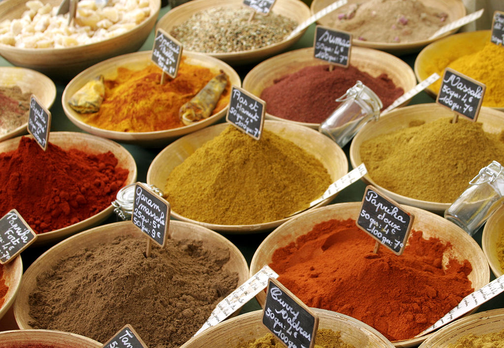 colourful spices in a french market by Gavin Bell under CC license